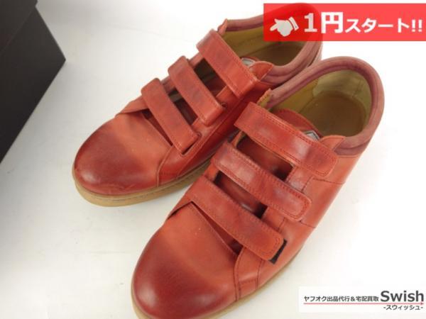 A501●glamb グラム●Canon sneakers Ⅱ ベルクロ レザースニーカー 3 赤●_画像2