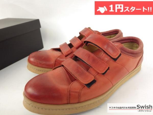 A501●glamb グラム●Canon sneakers Ⅱ ベルクロ レザースニーカー 3 赤●_画像3