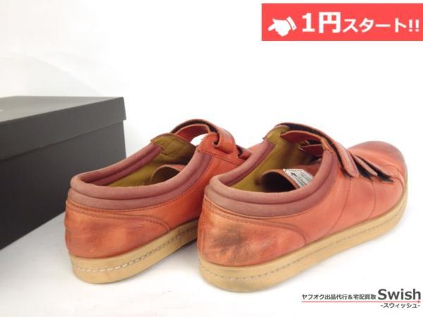 A501●glamb グラム●Canon sneakers Ⅱ ベルクロ レザースニーカー 3 赤●_画像4