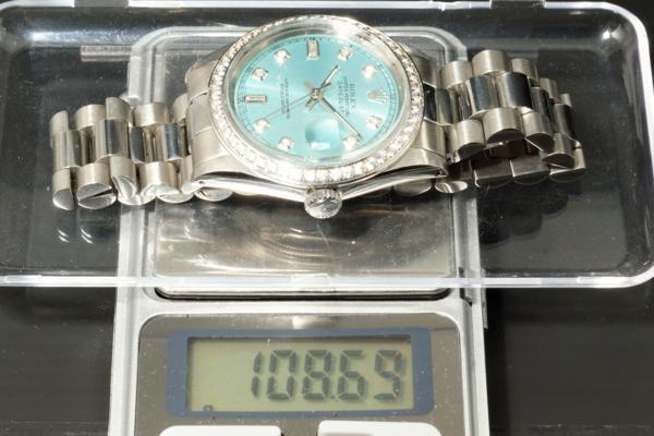 ロレックス デイトジャスト 1601 鑑定書付 アイスブルー 8+2Pバケットダイヤ 50Pダイヤベゼル シースルーバック ROLEX DATEJUST R0096_画像9