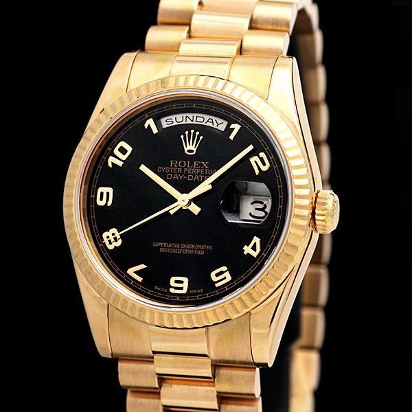 86e8a92b0ed ROLEX ロレックス デイデイト 118235 メンズ腕時計 黒文字盤 K18PG 保証書