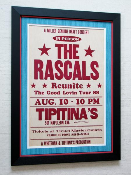 ラスカルズ/1988オリジナル・ポスター額装/Rascals/Tipitina's