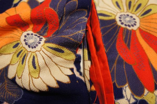 特選縮緬アンティーク紺色地縦縞花模様子供着物[C10156]_縮緬アンティーク紺色地縦縞花模様子供着物