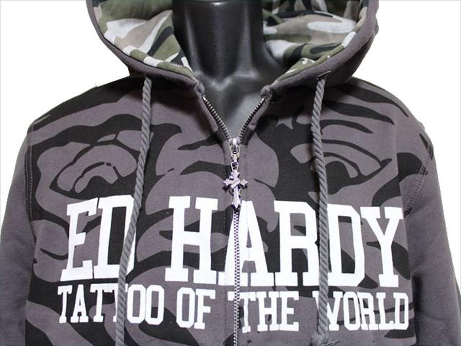 エドハーディー ED HARDY メンズフルジップパーカ チャコール Mサイズ M08CSP091 新品_画像2