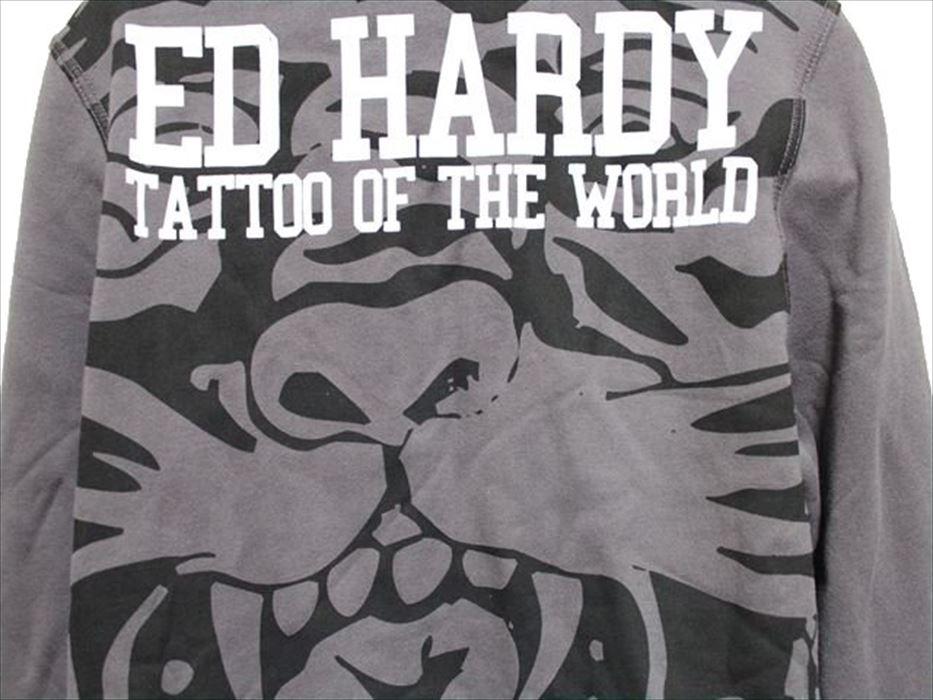 エドハーディー ED HARDY メンズフルジップパーカ チャコール Mサイズ M08CSP091 新品_画像4