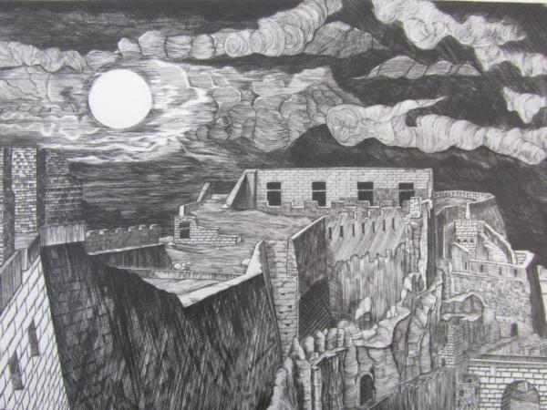 吉田勝彦 銅版画「落日の城塞」(真作保証品) 限定80部 額装_画像3