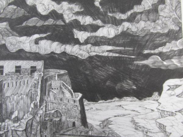 吉田勝彦 銅版画「落日の城塞」(真作保証品) 限定80部 額装_画像4