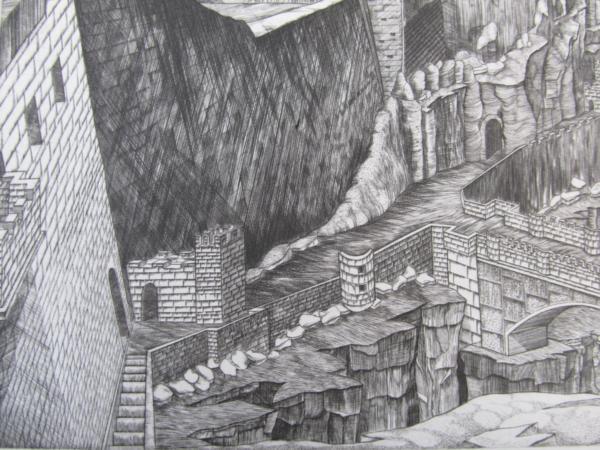 吉田勝彦 銅版画「落日の城塞」(真作保証品) 限定80部 額装_画像7