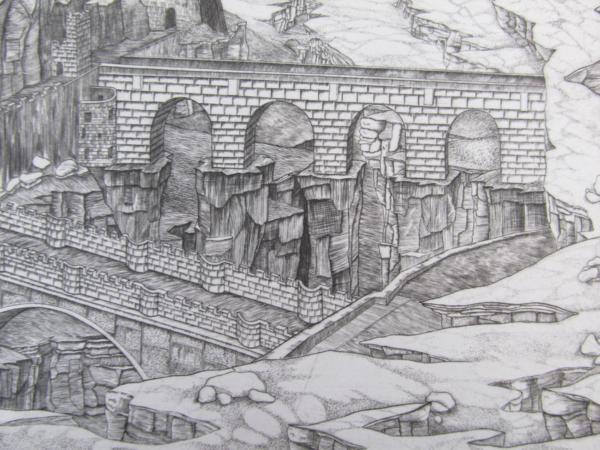 吉田勝彦 銅版画「落日の城塞」(真作保証品) 限定80部 額装_画像5