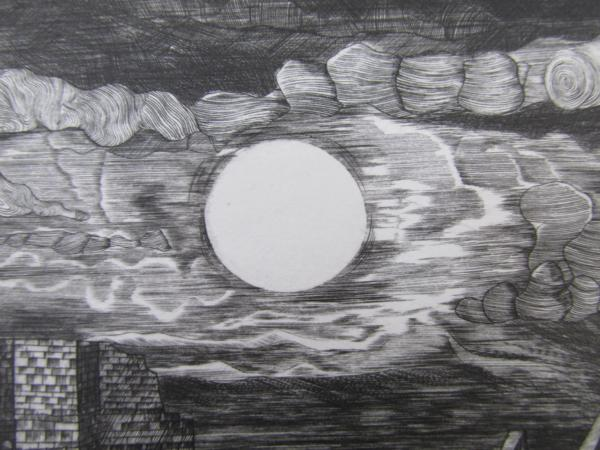 吉田勝彦 銅版画「落日の城塞」(真作保証品) 限定80部 額装_画像6
