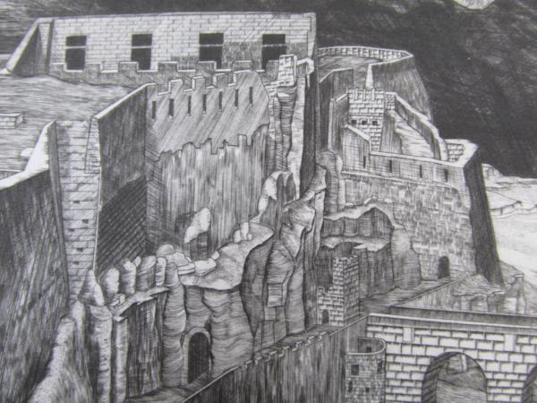 吉田勝彦 銅版画「落日の城塞」(真作保証品) 限定80部 額装_画像8