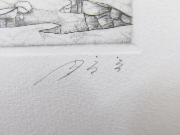 吉田勝彦 銅版画「落日の城塞」(真作保証品) 限定80部 額装_画像9