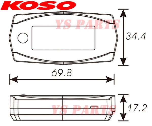 [ボタン電池でも動作OK]KOSO Mini4タコメーターKSR50KSR80KSR110Dトラッカー125Dトラッカー150DトラッカーXKLX250スーパーシェルパ_画像3