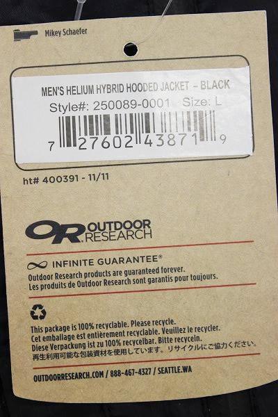 1T7980/新品 アウトドアリサーチ ヘリウムハイブリッドフーデッドジャケット OUTDOOR RESEARCH_画像4