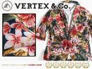 【新品】VERTEX&Co 春夏コーデに♪ ボタニカル柄 7分袖 綿100% ブロード シャツ生地 テーラードジャケット【L】総柄 紺地 D0309