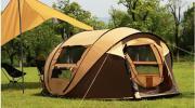 ワンタッチテントアウトドア 3-4人キャンプ用 組立不要 UVカット 黄色