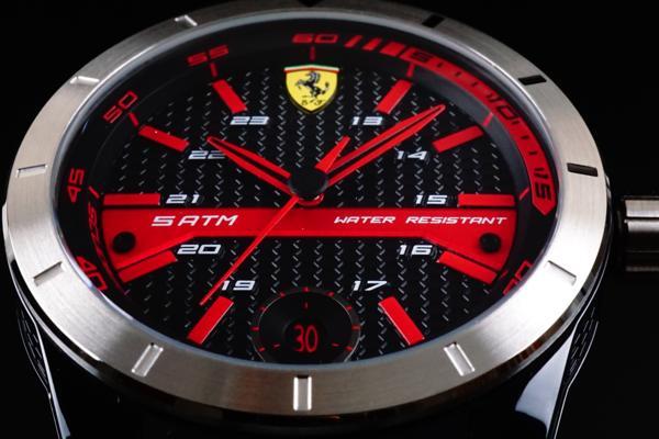 1円2本美しすぎる黒赤フェラーリ公式スクーデリアFERRARI腕時計