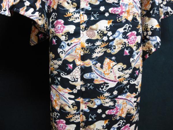 ☆オリジナル製レトロ木綿着物(ゆかた)+帯セット現品限り④_波と千鳥で動きのある柄行き