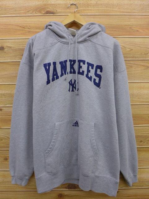 XL★古着 スウェット パーカー アディダス adidas MLB ニューヨークヤンキース 大きいサイズ グレー 霜降り 中古 メンズ 長袖 スエット ト グッズの画像