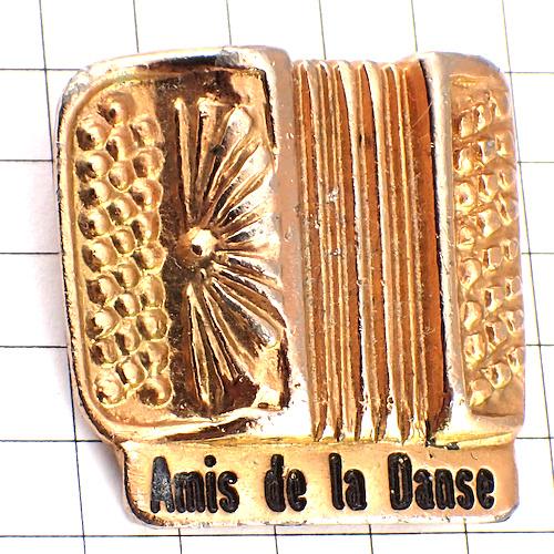 限定レア◆ピンバッジ◆ボタンアコーディオン音楽楽器ゴールド金色ピンズフランス