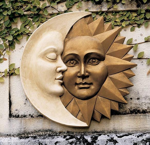 天体のハーモニー 太陽と月 壁面彫刻 彫像/ Celestial Harmony Sun & Moon Wall Decor(輸入品)_画像1