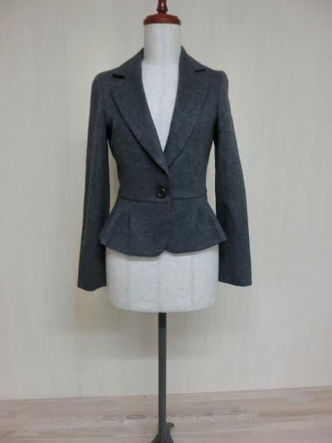 t1089 【美品】 ef-de ショート丈 デザインジャケット グレー 7 毛95% アンゴラ5% 裏地/ポリエステル100%_画像1