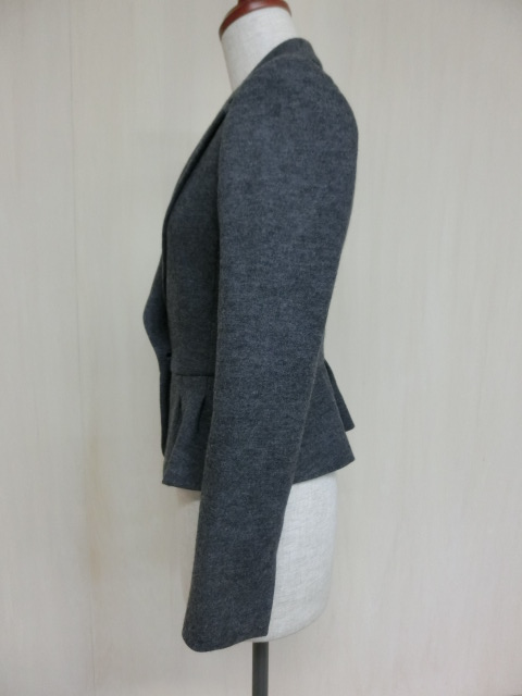 t1089 【美品】 ef-de ショート丈 デザインジャケット グレー 7 毛95% アンゴラ5% 裏地/ポリエステル100%_画像3