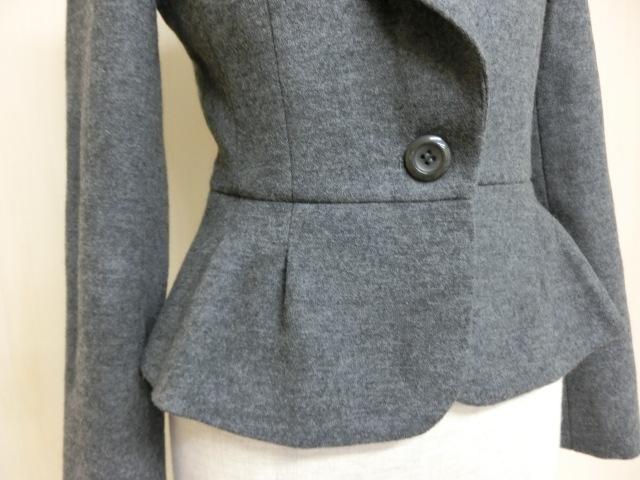 t1089 【美品】 ef-de ショート丈 デザインジャケット グレー 7 毛95% アンゴラ5% 裏地/ポリエステル100%_画像5