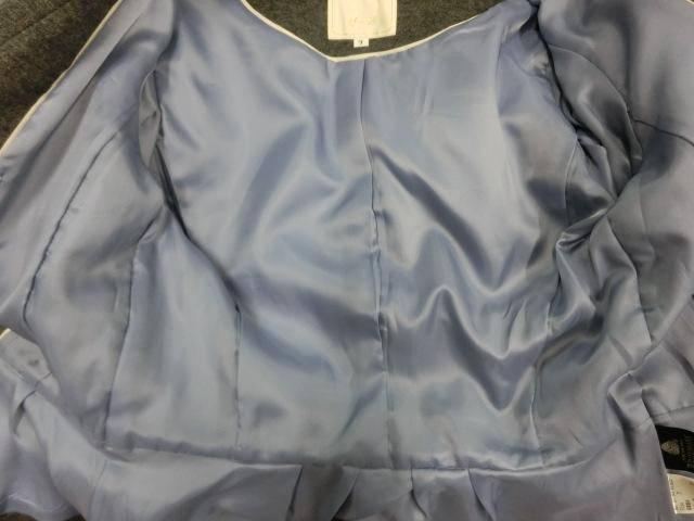t1089 【美品】 ef-de ショート丈 デザインジャケット グレー 7 毛95% アンゴラ5% 裏地/ポリエステル100%_画像6