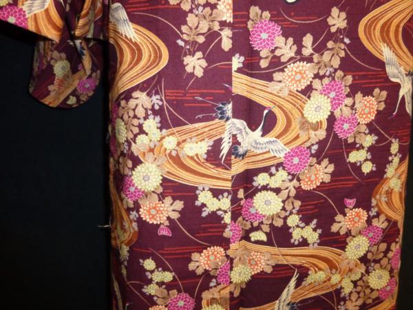 ☆オリジナル製レトロ木綿着物(ゆかた)+帯セット現品限り②_丁寧に仕立ててあります
