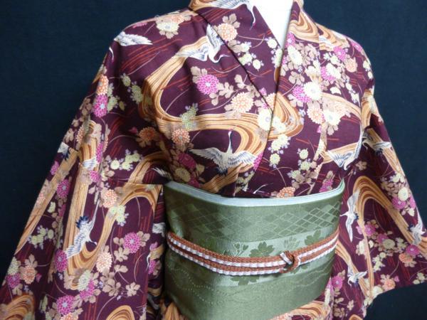 ☆オリジナル製レトロ木綿着物(ゆかた)+帯セット現品限り②_帯締めで正装感を出しました