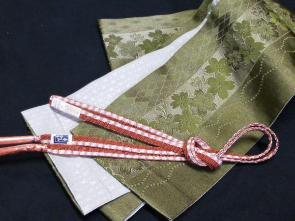 ☆オリジナル製レトロ木綿着物(ゆかた)+帯セット現品限り②_高級素材使用 西陣製半幅小袋帯