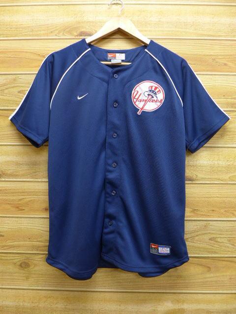 M★古着 半袖 ベースボール シャツ ナイキ NIKE MLB ニューヨークヤンキース ジーター 紺 ネイビー 中古 メンズ トップス グッズの画像