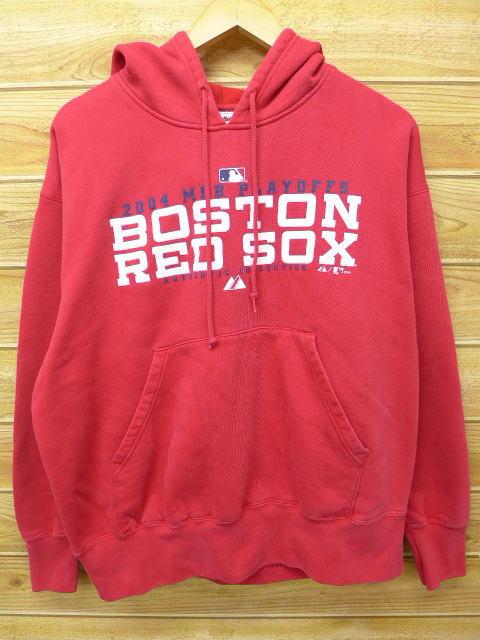 XL★古着 スウェット パーカー MLB ボストンレッドソックス 赤 レッド 中古 メンズ 長袖 スエット トレーナー トップス グッズの画像