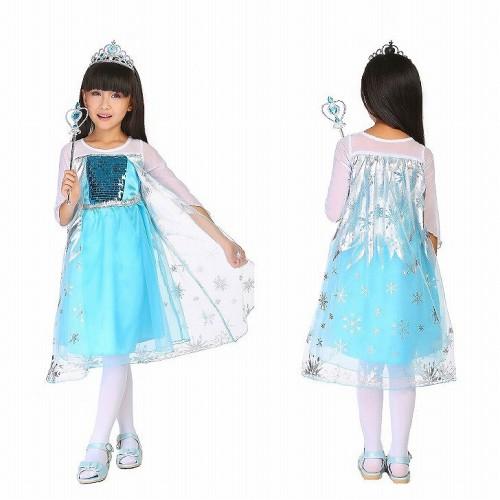 子供 3set キッズ アナと雪の女王 コスプレ ブルー 110-120【 同梱可能 | 即納】 ディズニーグッズの画像