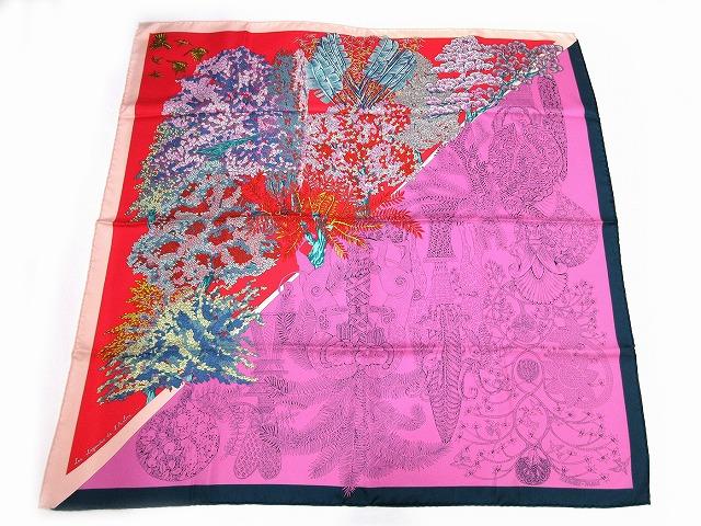 未使用 エルメス ■ シルク100% スカーフ Les Legendes de l'Abre 木の伝説 パープル レッド カレ90 箱付 HERMES(45717B_画像1