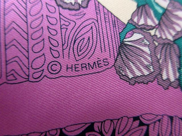 未使用 エルメス ■ シルク100% スカーフ Les Legendes de l'Abre 木の伝説 パープル レッド カレ90 箱付 HERMES(45717B_画像4