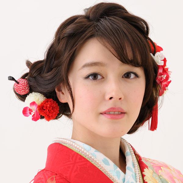 髪飾り 3点セット 手染め加工 はなまい新品 (株)安田屋_画像1