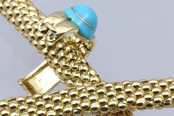 トレベール K18 ターコイズ ダイヤモンド ネックレス 72.1g 美品 送料無料 【C30】 平和堂貿易 TRES BELLE トルコ石 18金 中古 ■_画像6