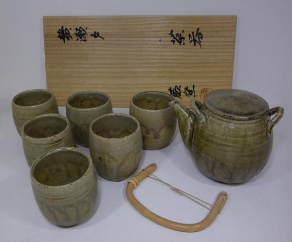 ■人間国宝 加藤孝造 蕨窯 黄瀬戸 茶器 共箱 土瓶 湯呑 J77