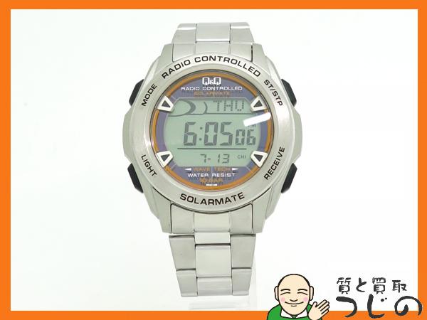 質屋 ◆1円~◆ CITIZEN Q&Q SOLARMATE ソーラーメイト 電波ソーラー腕時計 DP62 SSバンド