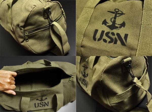 ボストンバッグ メンズ 2WAY ショルダー ROTHCO ロスコ ブランド USN アンカー 錨 / オリーブ_画像2