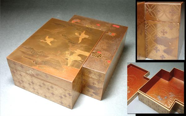 慶應◆時代最高峰蒔絵御道具 雲鶴に牡丹蒔絵 重ね色紙形小箱 献上品クラス!