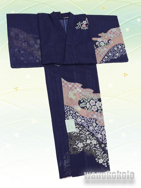【和の志】夏の洗える着物◇絽・付下◇紺系・辻が花柄◇KRT-29_画像3