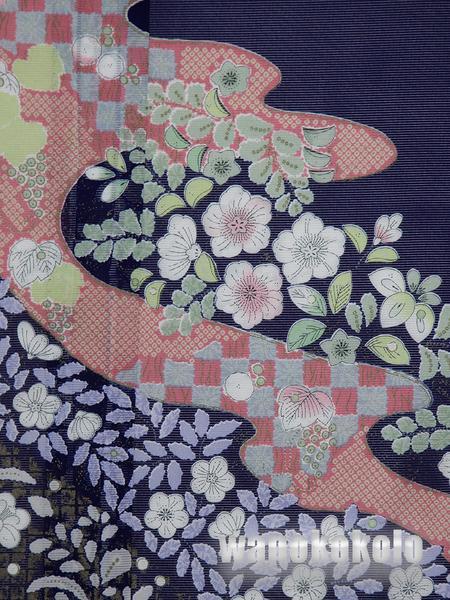 【和の志】夏の洗える着物◇絽・付下◇紺系・辻が花柄◇KRT-29_画像2