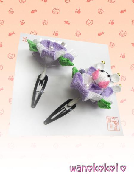 【和のこころキッズ】猫柄ちりめん手作り髪飾り2点セット◇猫-3_画像4