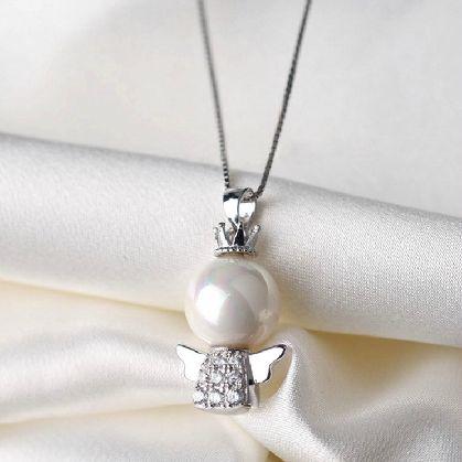 可愛い 雪の女王 10mm 大珠 貝パール ダイヤモンド ネックレス_画像1