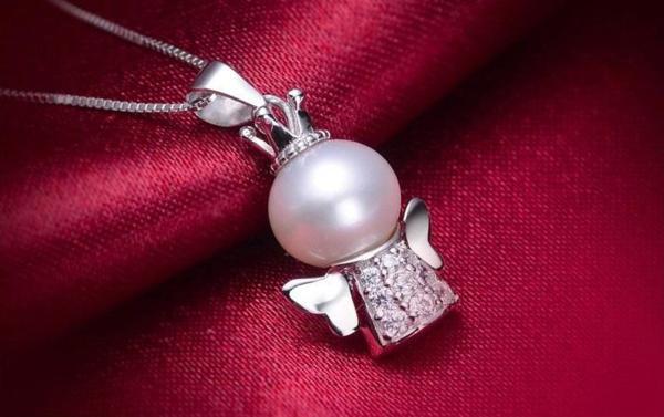 可愛い 雪の女王 10mm 大珠 貝パール ダイヤモンド ネックレス_画像2