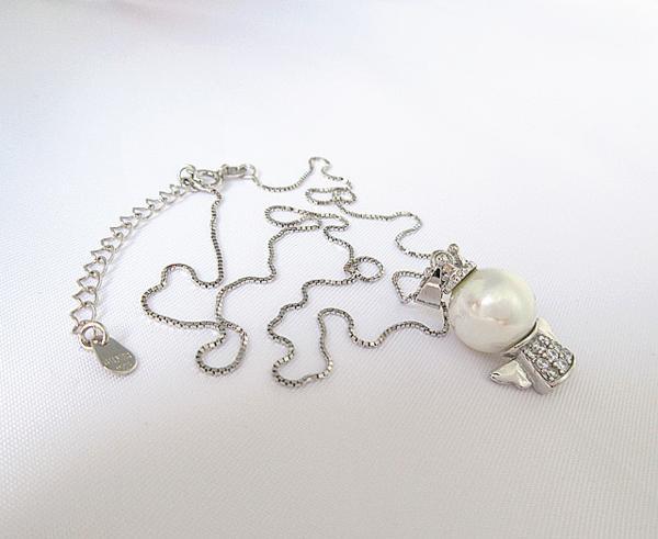 可愛い 雪の女王 10mm 大珠 貝パール ダイヤモンド ネックレス_画像7
