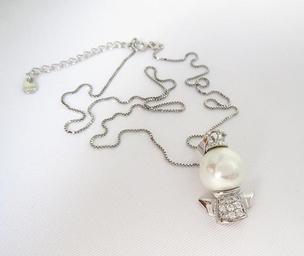 可愛い 雪の女王 10mm 大珠 貝パール ダイヤモンド ネックレス_画像8